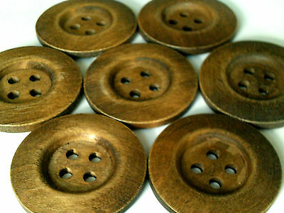 Vintage lot of 7 oversize buttons natural wood
