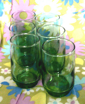 Set of 6 tumblers green small glass retro Mod style vintage