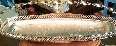 Metal Serving Tray Snack , Cake, Bread, Sandwich Made in England Silver
