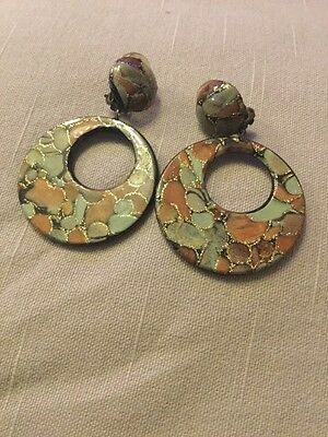 Vintage Clip On Earrings Green, Brown And Gold Discs