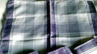 Vintage set 6 napkins purple-indigo-white Plaid handmade-country look