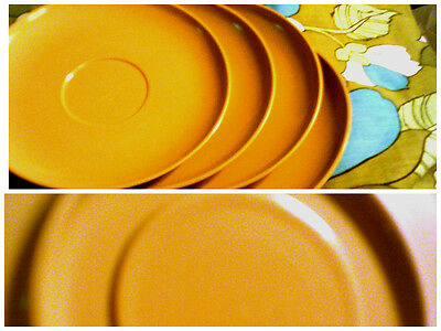 Melmac lot of 4 mustard colour saucers GVC