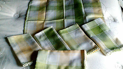Vintage set 6 napkins green-yellow-white Plaid handmade-country look