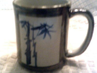 Pottery mug gray/charcoal vintage-handmade-asian sign-Japanese?