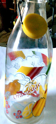 Italian Lemonade glass bottle with plastic seal CIRCA 1960'S