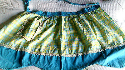 Vintage half-apron Turquoise/aqua-Plaid green-yellow cotton handmade?