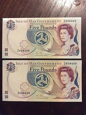 Consecutive Isle of Man Government Replacement £5 Note