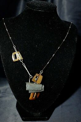 Anne Marie Chagnon Modernist Mixed Materials Necklace Wood Pewter