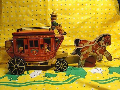 Vintage Fisher Price Goldstar Stage Coach #175 Pull Toy 1954-56
