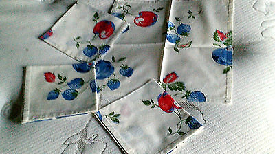 Vtg napkins set 4 print/berries cotton matches Corelle prints