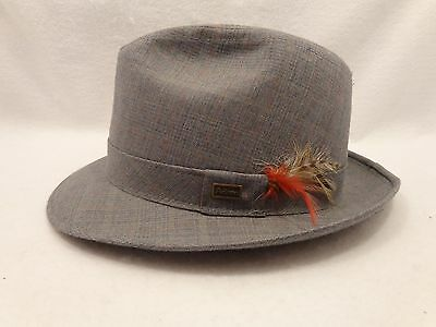 Adam New York Mens Fedora Hat Vintage Gray Plaid 7 1/4 to 7 3/8 Made in USA NO7