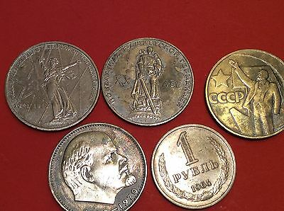 1 Ruble x 5 USSR Soviet Russian Coins