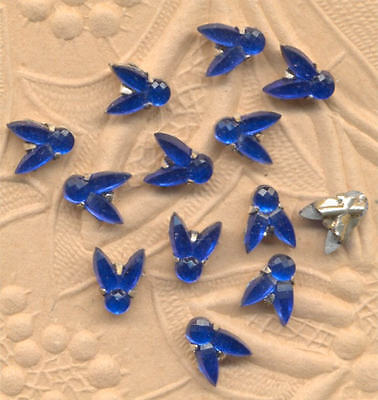ANTIQUE Cobalt RHINESTONE FLY 2 HOLE Rose MONTEES Beads Doll BUTTONS Trim lot