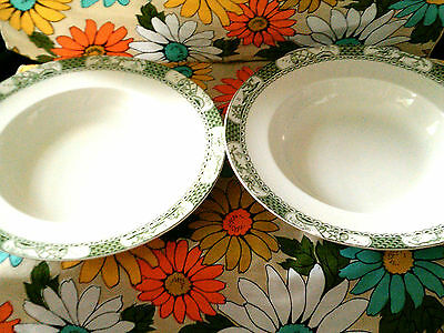 2 green Pagoda pattern soup bowls made in England