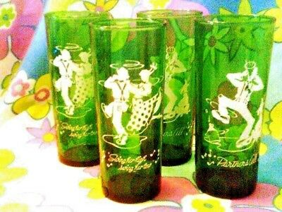4 retro highball tumblers glass Swing dancers/Musician dog Forest green