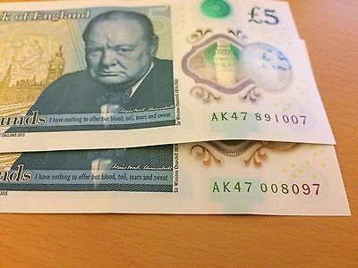 "AK47 007"" and 008""James Bonds Collectable Rare £5 Five Pound Note UK"