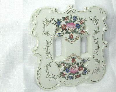 Vintage Porcelain White Floral Double Toggle Light Switchplate Wall Plate