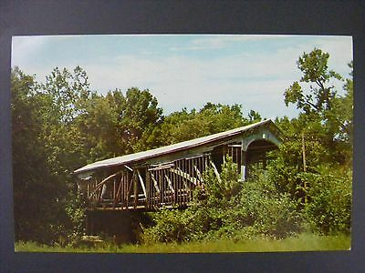 Bloomfield Indiana Richland Creek Covered Bridge Vintage Color Postcard 1950s
