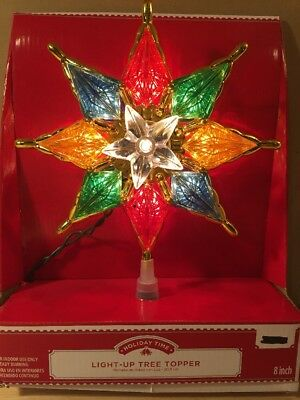 NEW! Light - Up Christmas Tree Topper Star Multi Color 8""