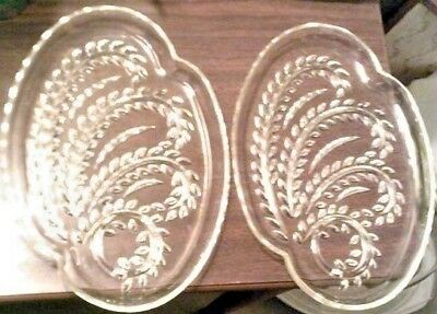 CLEARANCE-2 snack plates Federal glass Hospitality clear wheat engraved