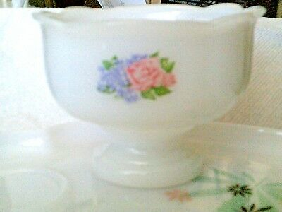 Footed vintage milk glass Avon small bowl with flowers