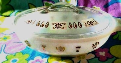 Glasbake casserole with gold pattern on white-Nice original lid