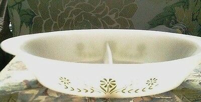 Glasbake separated dish milk glass with green flower design no lid