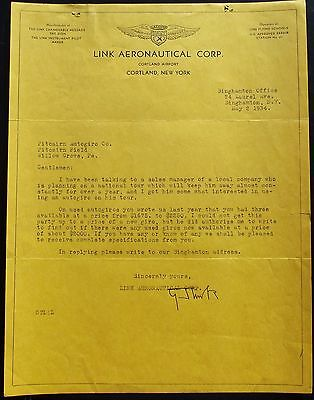 Edwin A. Link Inventor ''Flight Simulator'' Aviation Pioneer Autograph Letter