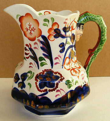 "ALLERTON GAUDY WELSH - RARE ""Snake Handled Jug"" in Sunflower Pattern - c1840s ?"