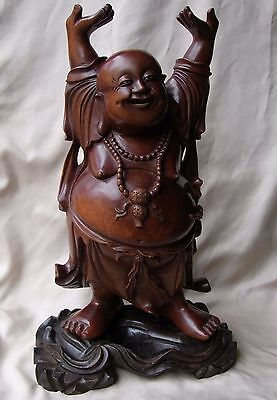 """Finely Carved Wooden Antique Standing Buddha - Very Large 15.5"""" tall"""