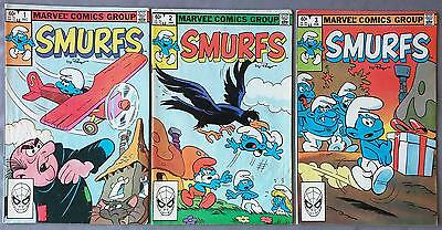 Smurfs Vintage Marvel Comic Book Lot Run Collection 1 2 3 Spiderman 1980's