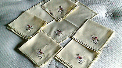 Vintage set 6 napkins pink flower corner on yellow cotton beautiful quality