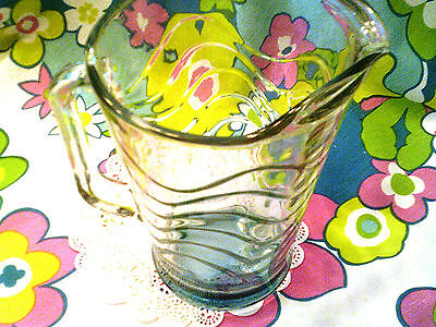 RARE FIND-Libbey glass pitcher blue/turquoise/aqua wave