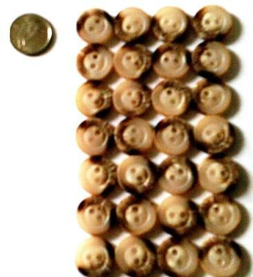 Lot of 28 Buttons round design natural beige grey brown wood look + bonus 10