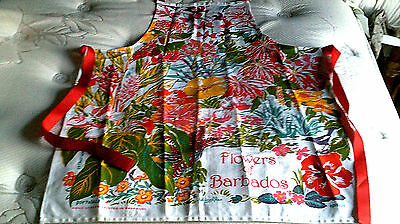 Vintage nice colors Full apron Flowers of Barbados cotton