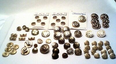 NEW LOW PRICE-Lot of over 60 Vtg Metal/pearl Gold color buttons