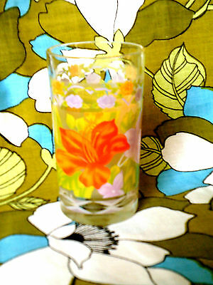 Vintage printed tumbler-Bouquet of flowers multicolor/frosted glass