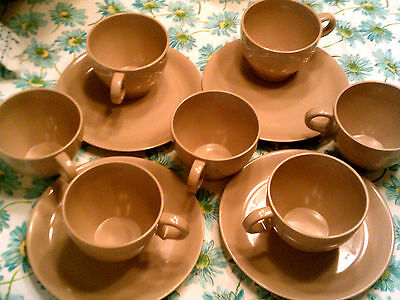 SALE-Lot of 11 Melmac pcs inc,7 mugs/4 dessert plates salmon-pink-beige
