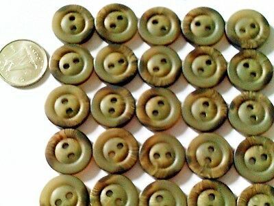Lot of 40 Buttons round design greenish tone-natural wood look-2 designs