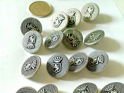 Lot of 17 vintage round metal coats of arms buttons