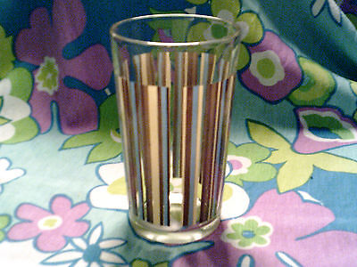 Vintage glass highball stripes brown-yellow-aqua