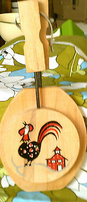 CLEARANCE-Was 12.99$-Vintage hamburger press wood rooster with handles