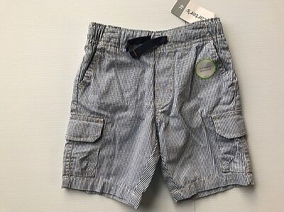 Carter's Toddler Boys Shorts Size 4T NEW Railroad Striped Cargo Blue White