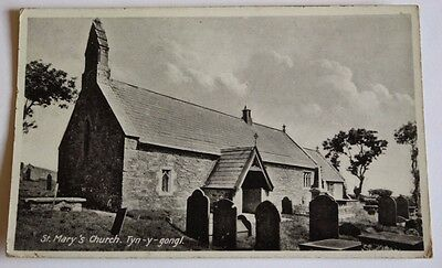 Unposted B+W RPPC St Mary's Church Tyn-y-Gongl Anglesey Wales