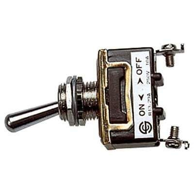Chrome 250V 10A SPST Heavy Duty Toggle Switch with Screw Terminals