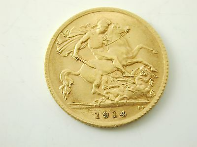 Half sovereign gold coin 22 carat gold dated 1914 George V 4.0 grams