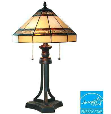 Addison 23 in. Oil Rubbed Bronze Table Lamp Tiffany Style Stained Glass Decor
