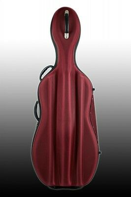 Petz Fiberglas 4/4 Celloetui, Cello Case m. Hartschaum-Nylonhülle, rot