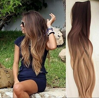 Full head clip in human hair extensions Ombre Straight weddings parties gifts