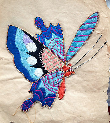 """Antq Silk Butterfly Sew on applique Chinese embroidery on paper backing gold 5"""""""